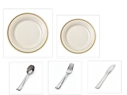 1000 Pieces Plastic China Plate Silverware Combo for 200 people BONE with GOLD Bands Reflection Masterpiece  sc 1 st  Amazon.com & Amazon.com: 1000 Pieces Plastic China Plate Silverware Combo for 200 ...