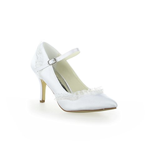 JIA JIA 8390B15 Women's Bridal Shoes Closed Toe Heels Lace Satin Pumps Wedding Shoes White 9aFrG