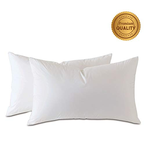 (Plankroad Home Décor 8X16 Luxury Hypoallergenic 50/50 Fluffy Feather Poly Mix Rectangular Pillow Insert, 100% Cambric Cotton Shell, Never Vacuum-Packed, Odorless, Made in USA, Set of 2)