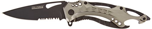 TAC Force TF-705GY Assisted Opening Tactical Folding Knife, Black Half-Serrated Blade, Grey Handle, 4-1/2-Inch Closed