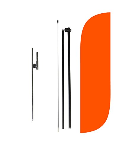 (LookOurWay Solid Color Orange Feather Flag Complete Set with Poles & Ground Spike, 5-Feet )