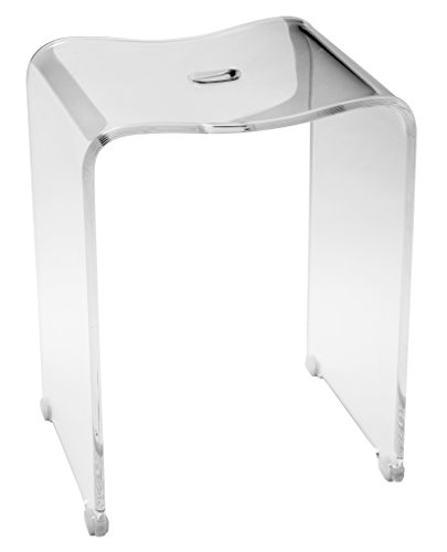 CP Backless Shower Bench Stool Chair Bathroom Shower Seat, Clear Acrylic (Backless Collection Bench)