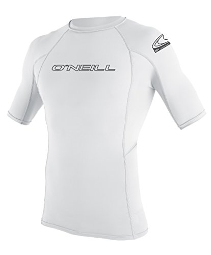 O'Neill Wetsuits Wetsuits UV Sun Protection Mens Basic Skins Short Sleeve Crew Sun Shirt Rash Guard, White, Medium