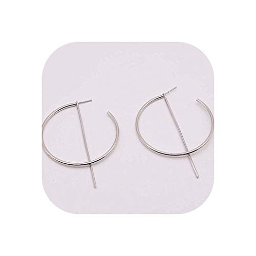 (Simple fashion gold color Silver plated geometric big round Earrings for women fashion big hollow drop earrings jewelry,e061yinse )