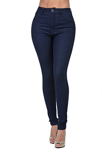 LOVER BRAND FASHION High Waisted-Rise Ladies Women Multi-Color Denim Stretch Skinny Jeans Pants (M, Solid Dark)