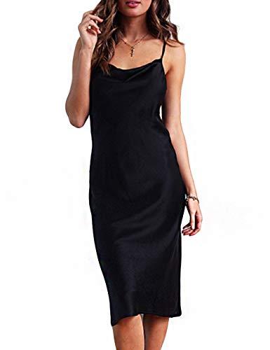 (Women Silk Satin Sleeveless Camisole Dress Sexy Satin Dot V Neck Cold Shoulder Backless Slim Chemise Nightdress)
