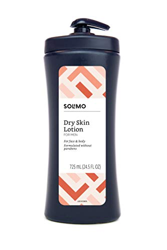 Amazon Brand - Solimo Men's Dry Skin Lotion for Face and Body, 24.5 Fluid Ounce