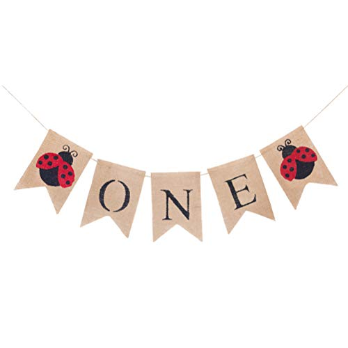 Banner Ladybugs Flag (Birthday Banner Linen Streamer Letter Banner Flag for Cute Colorful Animal Ladybugs Printing Birthday Festival Party Decoration with English Word One Prints)