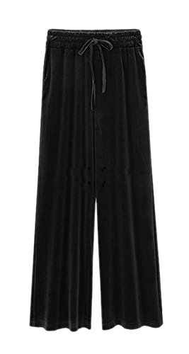 ARJOSA Women's Casual Pockets Drawstring Velour Track Pants Lounge Velvet Trousers (M, Black) Cotton Velour Overalls