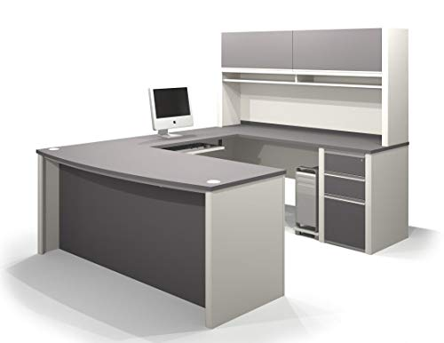 Bestar U-Shaped Desk with Assembled Pedestal and Hutch - Connexion