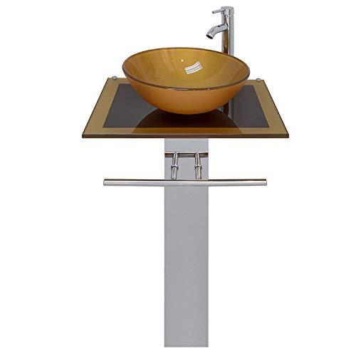(23-inch Wide Glass Vessel Bathroom Vanity Pedestal Combo Mustard Gold)