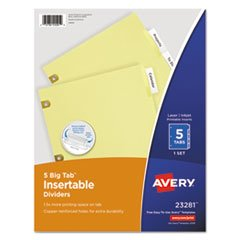 Avery(R) Worksaver(R) Insertable Big Tab Dividers, Copper Reinforced, 5-Tab, Buff Paper, Clear