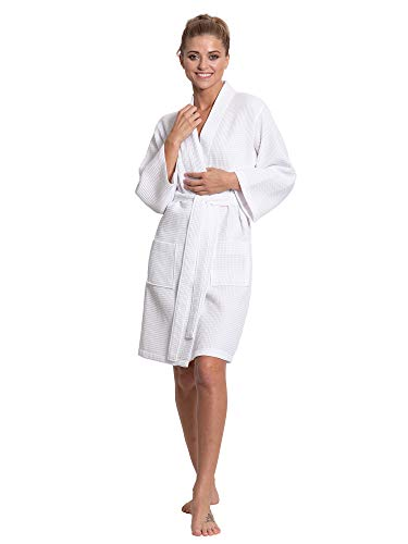 Turkuoise Linen Lightweight Knee Length Waffle Kimono Bath and Spa Robe White ()