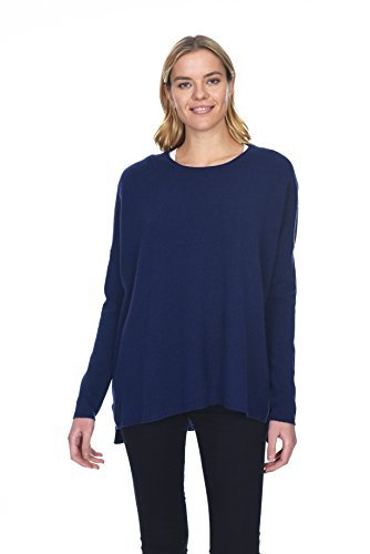State Cashmere Women's 100% Pure Cashmere Casual Oversize Crewneck (2 Ply Cashmere Crewneck Sweater)