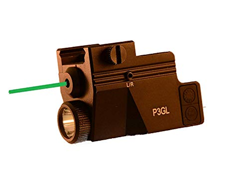 (HiLight P3GL 500 Lumen Pistol Flashlight & Green Laser Sight Combo Rechargeable Battery and Charger for Glock Series, Sig Sauer, Smith & Wesson, Springfield, Beretta, Ruger, and Heckler & Koch, etc.)
