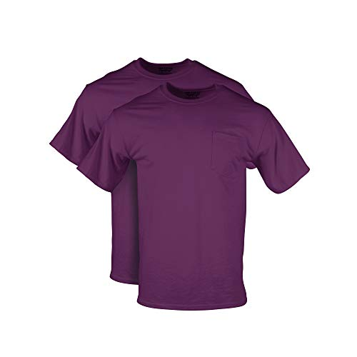 Gildan Men's DryBlend Workwear T-Shirts with Pocket, 2-Pack, Maroon, XX-Large