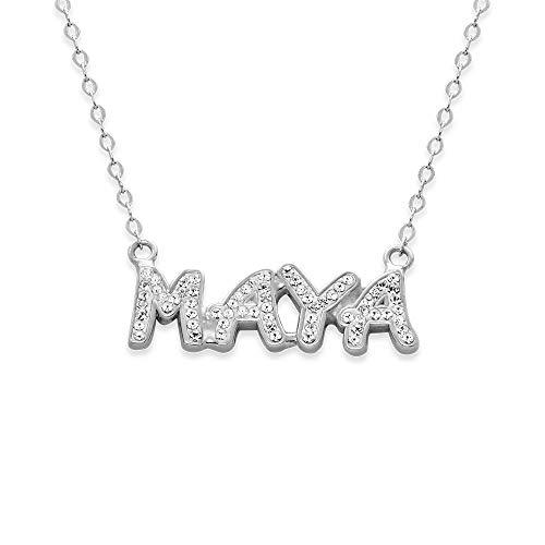 MyNameNecklace Personalized Swarovski Crystal Name Necklace- Custom Pendant 925 Sterling Silver