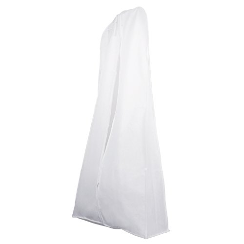 White Wedding Gown Dress Garment Bag, Breathable Bridal Clothes Cover Bag by Wedding Gown Bag