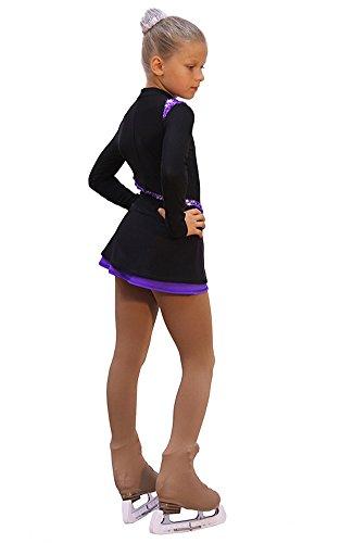 IceDress Figure Skating Dress Lasso(Black with Purple)