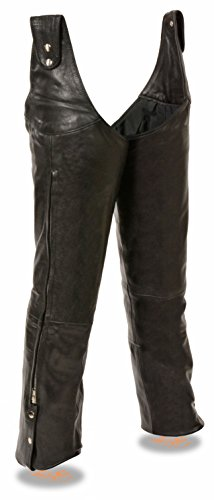 (Milwaukee Leather Men's Adjustable Side Snap Beltless Leather Chap (Black, L))