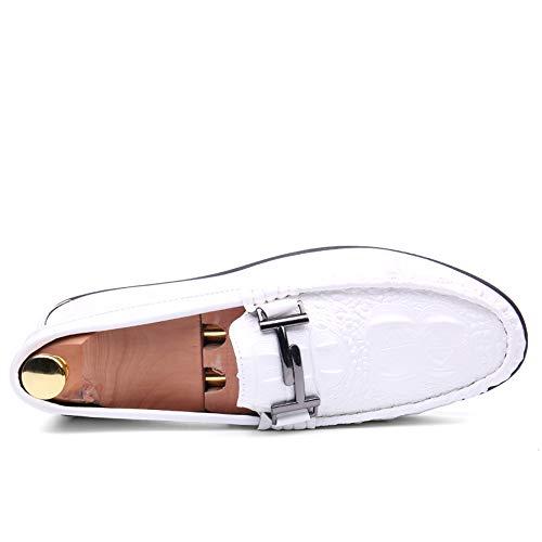 Blanco Holgazán Metal Cocodrilo Casual Formales Pu Conducción Cuero Hebilla La Hombre Semi Estilo De Impresión Iwgr Zapatos Barco RT7qCwfn