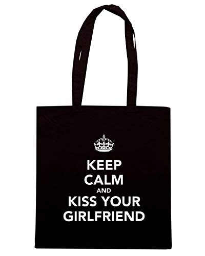 Speed Shirt Borsa Shopper Nera TKC0809 KEEP CALM AND KISS YOUR GIRLFRIEND