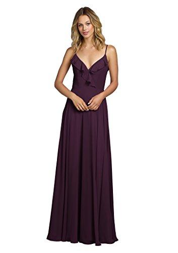 - YORFORMALS Women's Spaghetti Strap Chiffon Bridesmaid Dress Long Ruffle Neckline Party Gown Size 4 Plum