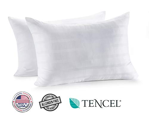 In Style Furnishings - Luxury Set of 2 Gel Fiber Bed Pillows - Made in USA - Hotel Quality, Hypoallergenic, Supportive for Head and Neck,Cooling Tencel + Cotton