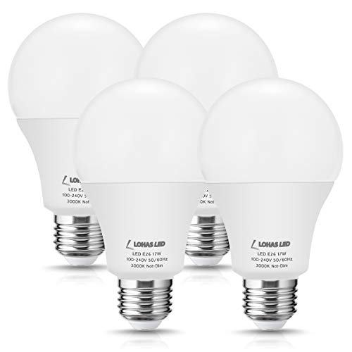 LOHAS A21 Light Bulb 150W Equivalent, 17W LED Bulb E26 Edison Base, Soft White Light 3000K, 1750 Lumen, Not Dimmable 120V LED Lights for Table Lamp, Garage, Commercial Home Lighting(4 Pack)