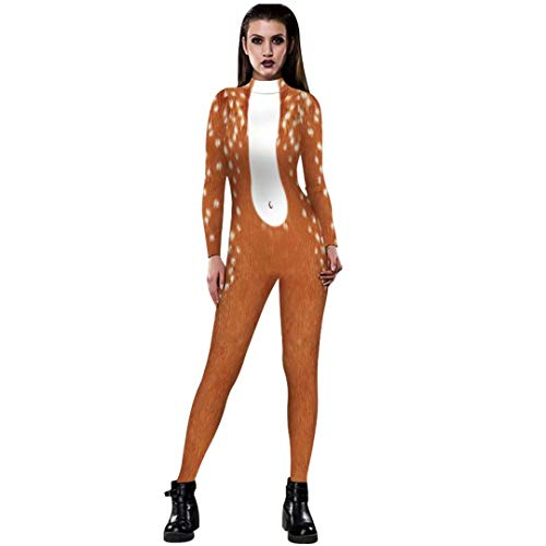 Tsyllyp Christmas Halloween Cosplay Costume Women 3D Elk Deer Jumpsuit Bodysuit