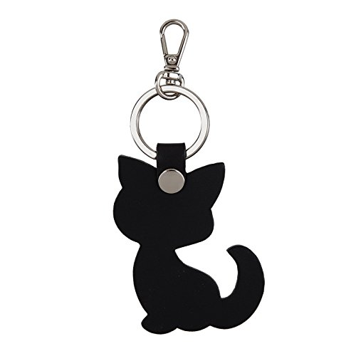 Richbud Full Grain Leather Cat Key Chain Ring Vegetable Tanned Leather rbk028 (Black Cat Silver)