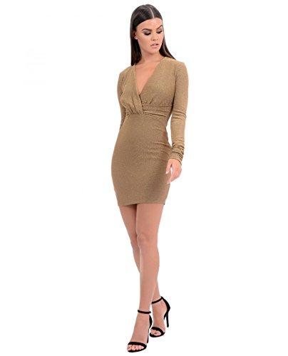 Gold Kleid langärmlig Abigail Unique Forever Damen funkelnd wnYxZFpAv