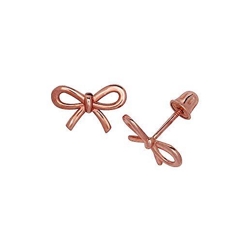 Jewelryweb Solid 14K Gold Small Polished Bow Collection Ribbon Stud Post Screw-back Earrings (Yellow, Rose or white)(8mm x 6mm) (rose-gold) ()