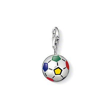 Jew :Football by Charm pendant, made from 925 silver, with a South African flag color glaze charms Fit Bracelet CH-0690