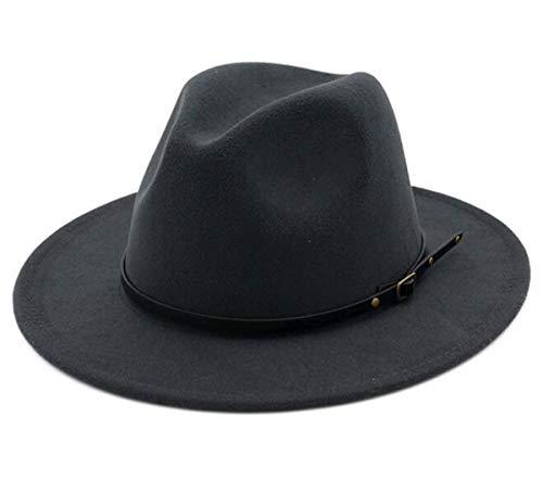 (Lanzom Women Lady Retro Wide Brim Floppy Panama Hat Belt Buckle Wool Fedora Hat (Dark Grey, One Size))