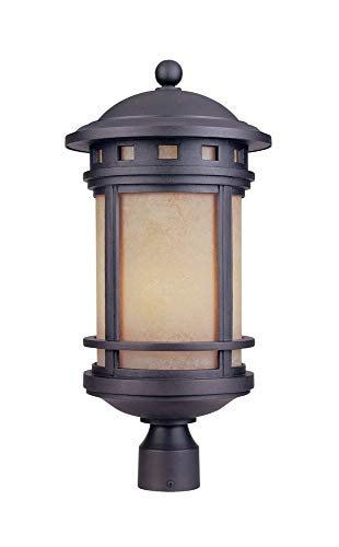 Designers Fountain 2396-AM-ORB Sedona - Three Light Outdoor Post Lantern, Oil Rubbed Bronze Finish with Amber -