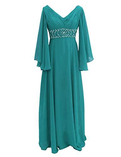 Womens Elegant Chiffon Mother The Bride Dress Beaded Bridesmaid Dresses Jade US26W