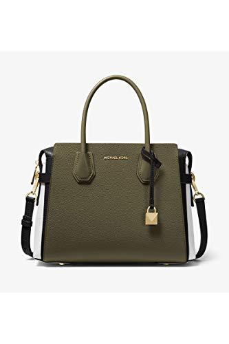 MICHAEL KORS Mercer Medium Leather Belted Satchel (Olive/Black/Optic - Leather Color Tri