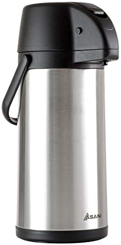 Thermal Coffee Airpot Carafe (85oz) | 15-Cup Insulated Thermos with Pump Beverage Dispenser | 20-Hour Hot and 36-Hour Cold Insulation | Stainless Steel Urn for Tea, Water, Coffee, Iced Drinks