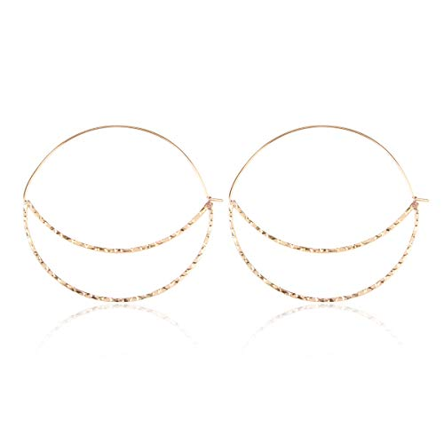 RIAH FASHION Curved Metal Crescent Moon Simple Geometric Hoop Drop Statement Earrings - Bohemian Tribal Filigree Lightweight Cutout Profile Shield Threader Dangles (Cutout Crescent Moon - Gold)