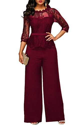 WO-STAR Womens Elegant Lace Top High Waisted Wide Leg Long Pant Jumpsuits Rompers for Party Wine Red L (Lace Leg Top)