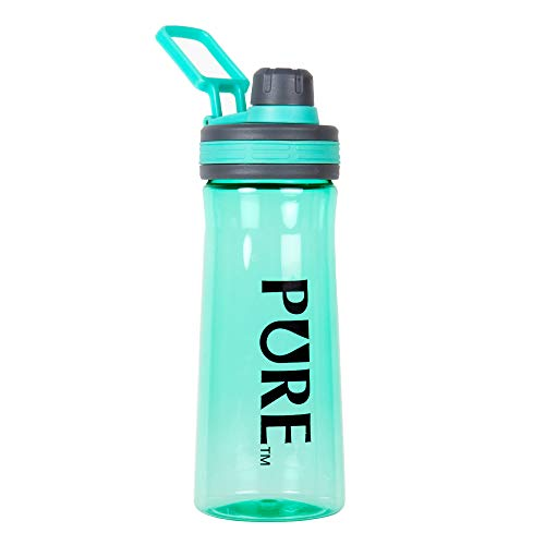 Turquoise Handle Plain - CTG, PURE Collection, Tritan Sports Water Bottle with Lid and Handle, Turquoise