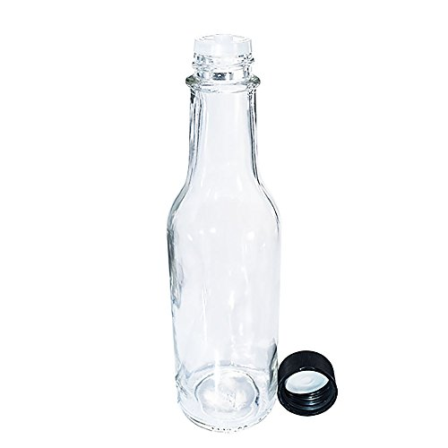 (24 Pack) 5 oz. Clear Glass Hot Sauce Bottle with Black Cap + Shrink band and Orifice Reducer (24/400) by GBO GLASSBOTTLEOUTLET.COM (Image #2)