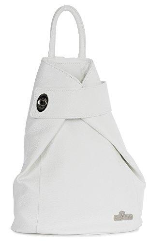 LIATALIA Genuine Italian Leather Twistlock Detail Medium Size Backpack Rucksac Travel Bag - WILLOW White