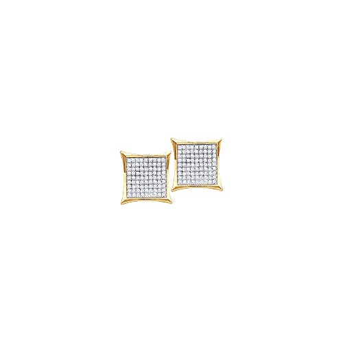 14kt Gold Birthstone Cluster Earrings (14kt Yellow Gold Womens Round Diamond Square Kite Cluster Stud Earrings 1/20 Cttw (I2-I3 clarity; J-K color))