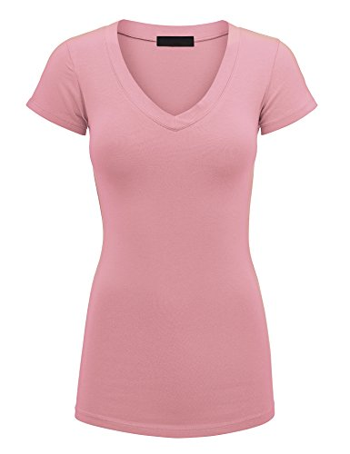 (Lock and Love WT1606 Womens Basic Fitted Short Sleeve V-Neck T Shirt M Rose )