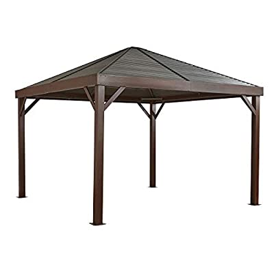 Sojag 12' x 12' South Beach Hardtop Gazebo with Wood Finish Outdoor Sun Shelter with Mosquito Netting, Brown : Garden & Outdoor