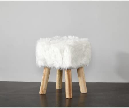 Mainstay Square Padded Cushion Faux Fur Stool White