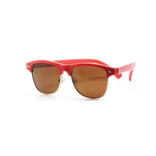 Red Coloured Round Half Frame Childrens Unisex Half Rim Style UV400 Sunglasses