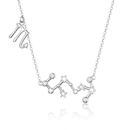 SIMPLOVE Women's Scorpio Horoscope Necklace Zodiac Sign Pendant Constellation Necklace Birthday Gift 16.5